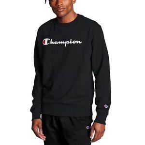 Unisex black crew neck champion logo sweatshirt
